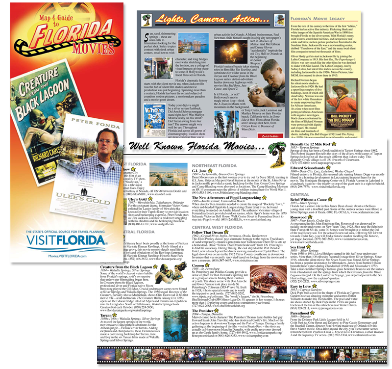 Visit Florida marketing materials including well known Florida Movies