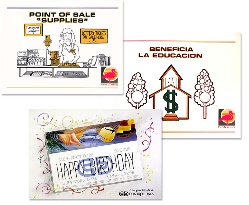 Some of the first marketing materials for the Florida Lottery - Greeting cards for Control Data