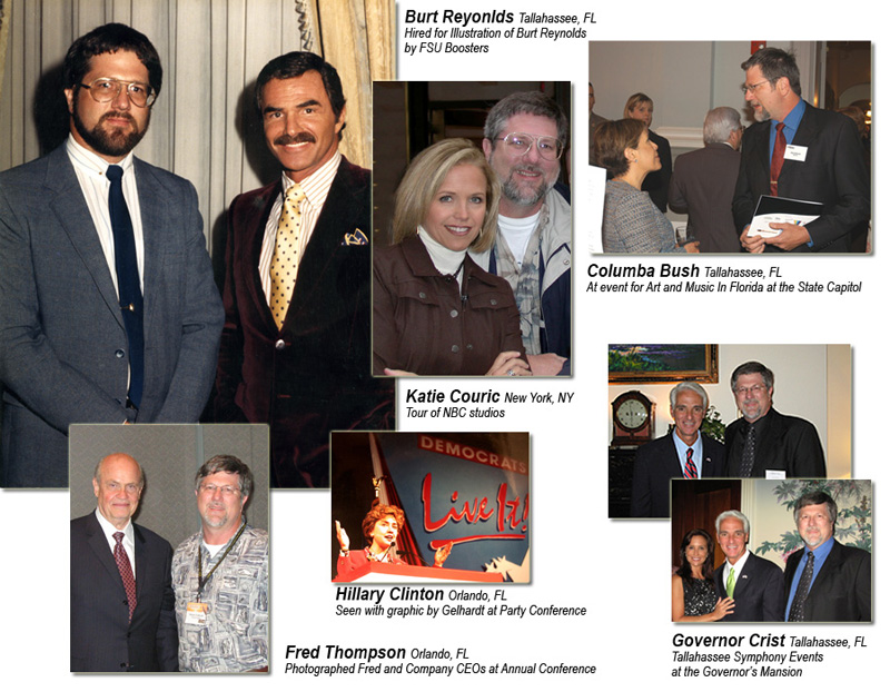 Rob Gelhardt with Burt Reynolds, Katie Couric, Columba Bush, Hilliary Clinton, Fred Thomas, and Governor Crist